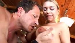 Hot babe is getting pounded in the kitchen and cunt banana fucked