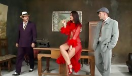 Hot threesome performed by two fellows and one horny golden girl