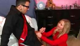 Classical physical blonde floosie is kneeling and jerking a palatable snake off