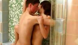 Steamy brunette is bending over and getting her wet crack slammed in shower