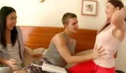 Hardcore 2 males 1 female fucking from two slutty angels and this one horny guy