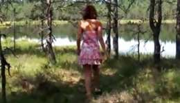Fine and lascivious chavette keeps masturbating near the river